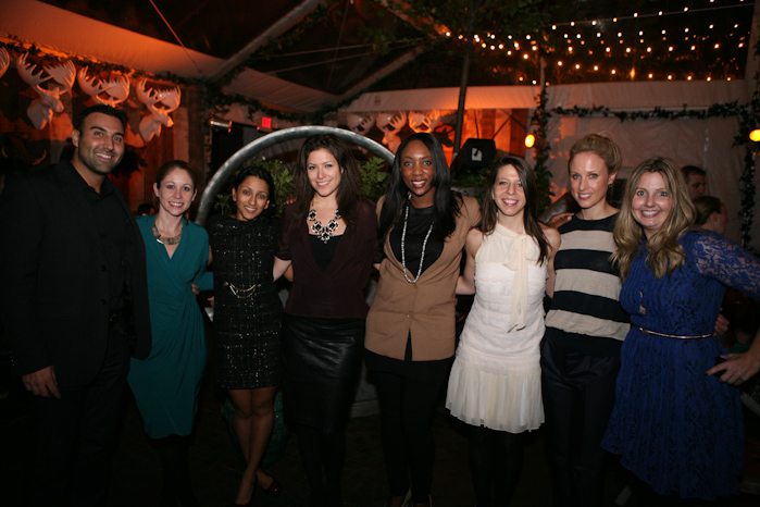 The Spirited Women pose with PureWow CEO Ryan Harwood, Karen Harris, Stephanie Jacoby, and PureWow VP of Sales, Courtney Howell.